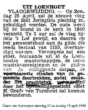 Vlaggewijding in april 1948 (Bron: Gazet van Antwerpen)